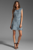 Image 2 of Rebecca Taylor Frayed Fit & Flared Dress in Navy