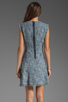 Image 4 of Rebecca Taylor Frayed Fit & Flared Dress in Navy