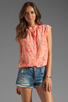 Image 1 of Rebecca Taylor Hibiscus Shirt in Tangerine