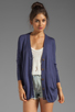 Image 1 of RVCA Shoals V Neck Cardigan with Elbow Patches in Navy
