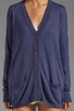 Image 4 of RVCA Shoals V Neck Cardigan with Elbow Patches in Navy