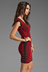 Image 3 of RVN Abstract Jacquard Mini Dress in Red/Black