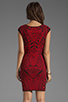 Image 4 of RVN Abstract Jacquard Mini Dress in Red/Black