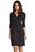 Image 1 of Saint Grace Moby Dylana Stripe Wrap Dress in Black/White