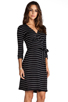 Image 3 of Saint Grace Moby Dylana Stripe Wrap Dress in Black/White