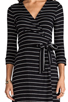 Image 5 of Saint Grace Moby Dylana Stripe Wrap Dress in Black/White