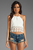 Image 1 of STONE_COLD_FOX Guerrilla Lace Crop Top in White
