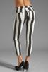 Image 3 of 7 For All Mankind Crop Slim Cigarette in Black & White Stripe