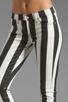 Image 4 of 7 For All Mankind Crop Slim Cigarette in Black & White Stripe