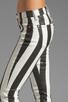 Image 5 of 7 For All Mankind Crop Slim Cigarette in Black & White Stripe