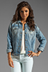 Image 1 of 7 For All Mankind 7 For All Mankind Denim Jacket with Pearls in Light Destroyed