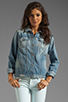 Image 2 of 7 For All Mankind 7 For All Mankind Denim Jacket with Pearls in Light Destroyed