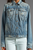 Image 4 of 7 For All Mankind 7 For All Mankind Denim Jacket with Pearls in Light Destroyed