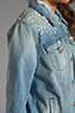 Image 5 of 7 For All Mankind 7 For All Mankind Denim Jacket with Pearls in Light Destroyed