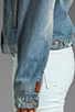 Image 6 of 7 For All Mankind 7 For All Mankind Denim Jacket with Pearls in Light Destroyed