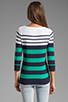 Image 2 of Shoshanna Striped Caroline Marioniere Sweater in Ivory/Jade/Navy
