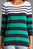 Image 3 of Shoshanna Striped Caroline Marioniere Sweater in Ivory/Jade/Navy