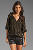 Image 1 of Shoshanna Brookline Lurex Chiffon Renee Blouse in Black/Gold