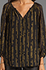 Image 3 of Shoshanna Brookline Lurex Chiffon Renee Blouse in Black/Gold