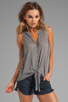 Image 1 of Soft Joie Cameo Tie Front Tank in Dark Heather Grey