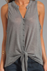 Image 3 of Soft Joie Cameo Tie Front Tank in Dark Heather Grey