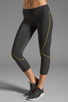 Image 1 of SOLOW Eclon Contrast Stitch Crop Legging in Heather Charcoal/Daffodil