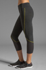 Image 2 of SOLOW Eclon Contrast Stitch Crop Legging in Heather Charcoal/Daffodil