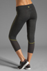 Image 3 of SOLOW Eclon Contrast Stitch Crop Legging in Heather Charcoal/Daffodil