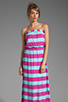 Image 1 of Splendid Magnolia Stripe Maxi Dress in Waterfall/Plum