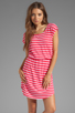 Image 1 of Splendid Short Sleeve Stripe Dress in Punch