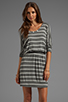 Image 1 of Splendid Short Sleeve Striped Mini Dress in Steel