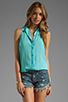Image 1 of Splendid Shirting Button Up Tank in Aquatic