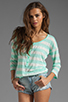Image 1 of Splendid White Stripe Rugby Henley Top in Pistachio