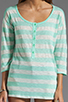 Image 3 of Splendid White Stripe Rugby Henley Top in Pistachio
