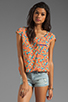Image 1 of Splendid Watercolor Floral Pocket Top in Apricot