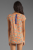 Image 2 of Splendid Watercolor Floral Pocket Top in Apricot