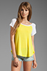 Image 1 of Splendid Drapey Lux Baseball Tee in Citron