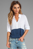 Image 1 of Splendid Color Blocked Button Up Top in Navy/White