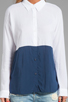 Image 3 of Splendid Color Blocked Button Up Top in Navy/White