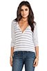 Image 1 of Splendid Heather Grey Stripe Mix Thermal Long Sleeve Henley in Sand Dollar