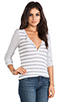 Image 2 of Splendid Heather Grey Stripe Mix Thermal Long Sleeve Henley in Sand Dollar