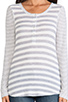 Image 4 of Splendid Heather Grey Stripe Mix Thermal Long Sleeve Henley in Sand Dollar