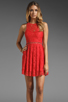 Image 1 of Style Stalker Love Me Do Lace Up Dress in Coral Red