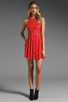 Image 2 of Style Stalker Love Me Do Lace Up Dress in Coral Red