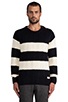 Image 1 of Scotch & Soda Structured Monsanto Pullover in Navy/Off White
