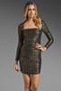 Image 1 of T-Bags LosAngeles Long Sleeve Mini Dress in Black/Gold