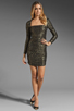 Image 2 of T-Bags LosAngeles Long Sleeve Mini Dress in Black/Gold