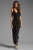 Image 2 of T-Bags LosAngeles Drape Front Maxi Dress in Black