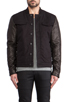 Image 2 of T by Alexander Wang Jean Jacket with Leather Sleeves in Black