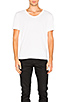 Image 1 of T by Alexander Wang Classic Low Neck Tee in White
